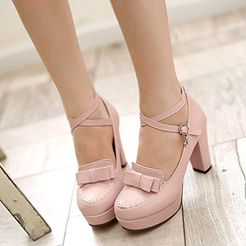 Women's Belt Bright Toe Bowknot Heel Block Pink Summer Court CHNHIRA Shoes High ZTqdZW
