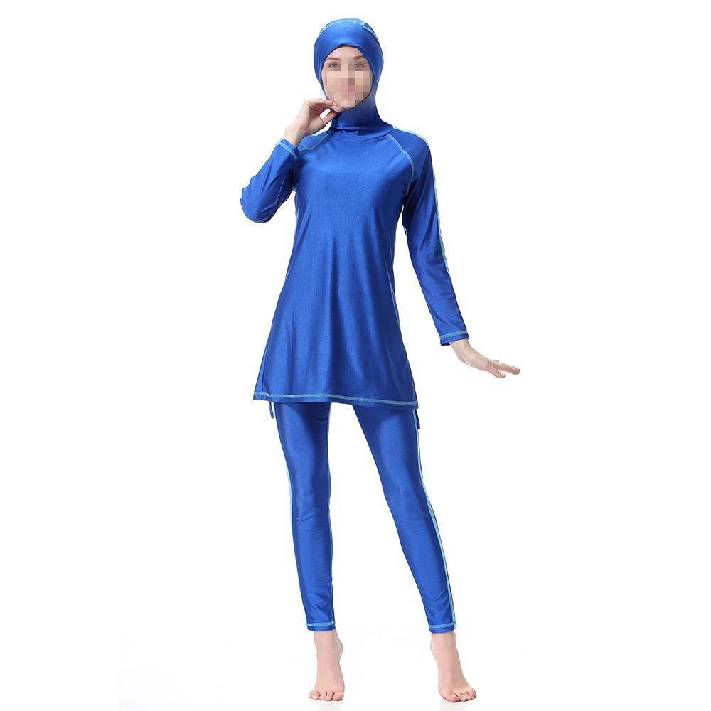 Swallowuk Damen Muslim Abaya Dubai Muslimische Islamische Burkini Badeanzug Bademode Badebekleidung Schwimmanzug Swimsuit Lange Ä rmel Arabische Indien Tü rkische Kleidung (L, Marine)