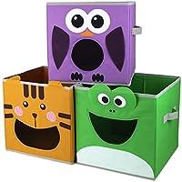 Paylak Kids Storage Organizer Bins Fabric Set of 3 Animal Print with Handle