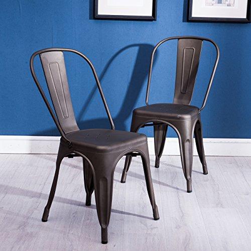 Belleze Indoor-Outdoor Bistro Dining Chair Stackable Highback Chic Cafe Side Chairs Set of (2), Bronze (Modern Bistro Set Outdoor)