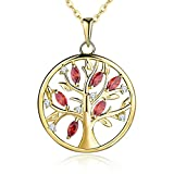 YL Gold Necklace Tree of Life Necklace 925 Sterling Silver cut Red Garnet Family Life Tree Pendant with Chain 18-20 inches(45-50cm)