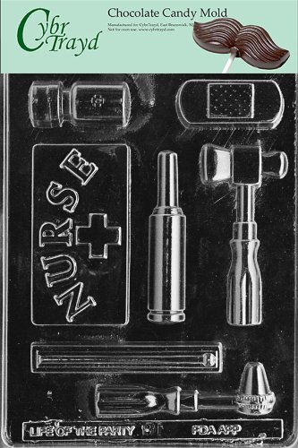 Cybrtrayd Life of the Party J081 Nurse Kit Thermometer, Pill Bottle, Bandage Chocolate Candy Mold in Sealed Protective Poly Bag Imprinted with Copyrighted Cybrtrayd Molding (Nurse Party)