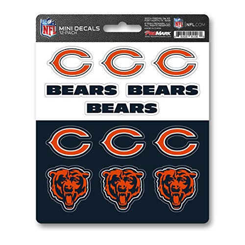 ProMark NFL Chicago Bears DecalDecal Set Mini 12 Pack, Team Colors, One Size ()
