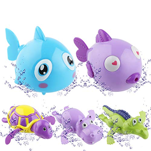HuoBi 5 Pack Baby Bath Toy,Wind Up Bath Toys,Cute Animal Float Pool Wind Up Chain Cute Swimming Tub Bathtub Toys Bathing Tub Pool Toys for Babies