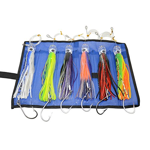 Lure Game Big (Set of 6 9 Inch Saltwater Fishing Lures Trolling Lures for Tuna Marlin Dolphin Mahi Wahoo and Durado, Included  Rigged Big Game Fishing Lures and Bag)