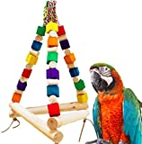 Hypeety Pet Bird Colorful Wood Block Swing Toy Cage Stand Perch Hanging Toy for Small Parakeets Cockatiels, Conures, Parrots, Love Birds, Finches