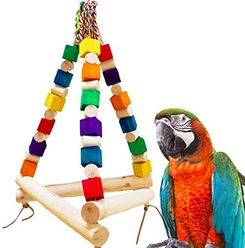 Hypeety Pet Bird Colorful Wood Block Swing Toy Cage Stand Perch Hanging Toy for Small Parakeets Cockatiels, Conures, Parrots, Love Birds, Finches by Hypeety