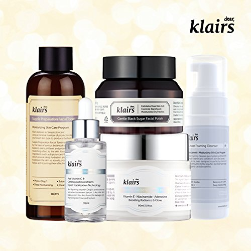 KLAIRS Freshly Juiced Brightening Package, toner, polish, vitamin c, cleanser, 5EA