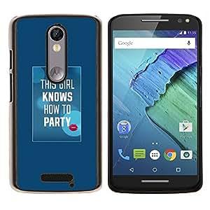 - party quote white text kiss lips - - Modelo de la piel protectora de la cubierta del caso FOR Motorola Moto X 3rd / Moto X Style RetroCandy