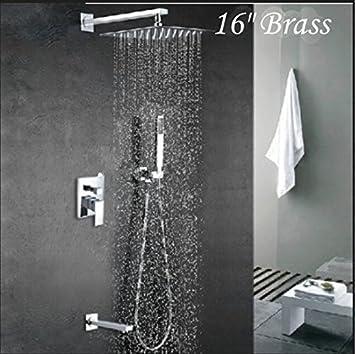 GOWE Modern 16u0026quot; Rain Shower Faucet Square Shower Head Tub Spout Single  Handle Shower