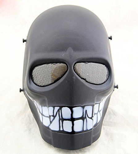 Gmasking Army of Two Cosplay Airsoft Full Face Protection Paintball Smiley Mask (Black-Smile)+Gmask Keychain -