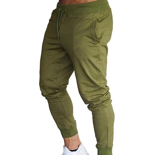 GNAXY Pantalones Deportivos,de Moda Bolsillo en Color Liso De Moda ...