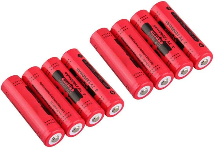 8 Packs 18650 Lithium Battery 3.7V 2800mAh Rechargeable Cylindrical Button-Top Li-ion Batteries Replacement Battery for Torch//Flashlight//Remote//Toys