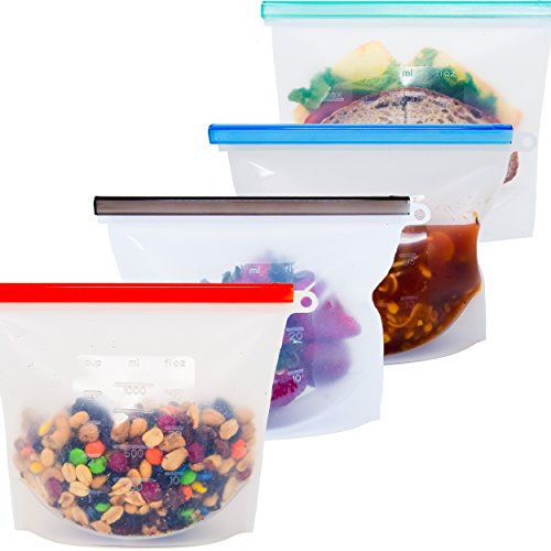 Honeycomb Reusable Silicone Storage Bags - Food Grade Safe - 30% Longer Lasting Meal & Snack Savers - Airtight Seal Bag for Freezer Preservation, Microwave & Sous Vide - Set of 4 Clear Quart Size