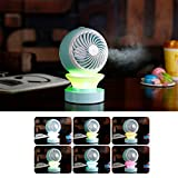 ALLOMN Multifunctional USB Desk Fan Air Conditional Fan Mini Humidifier Aroma Diffuser RGB LED Night Light for Home Office Laptop School Outdoor Travel (Not Rechargeable)