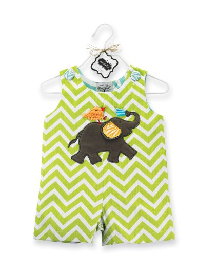 Mud Pie Unisex-Baby Newborn Safari Elephant Shortall Pant