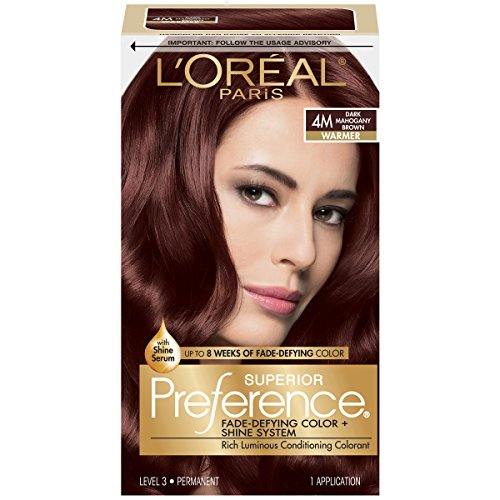 - L'Oréal Paris Superior Preference Fade-Defying + Shine Permanent Hair Color, 4M Dark Mahogany Brown, 1 kit Hair Dye