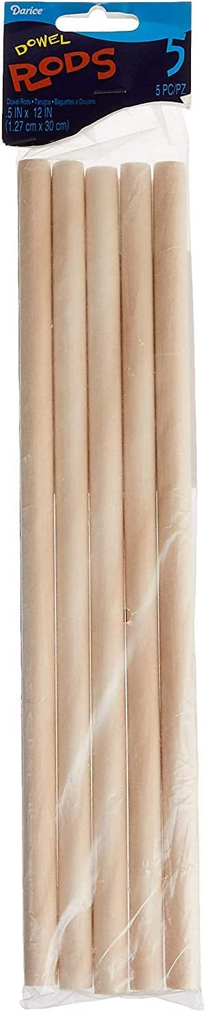 Darice 9162-00 Unfinished Natural Wood Craft Dowel Rod, 1/2-Inch