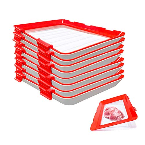 8 PackVacuum Seal Food Preservation Tray - Stackable and Reusable Food Preservation Food Storage Container with Plastic Lid for Vegetable Fruit Meat Kitchen, Office, School