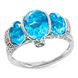 Glamouresq Sterling Silver 7mm Oval Shape Created Paraiba Tourmaline Color Quartz & Sapphire Women's Ring, Size 7