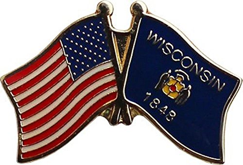 Wholesale Pack of 3 USA American Wisconsin State Flag Bike Hat Cap lapel Pin