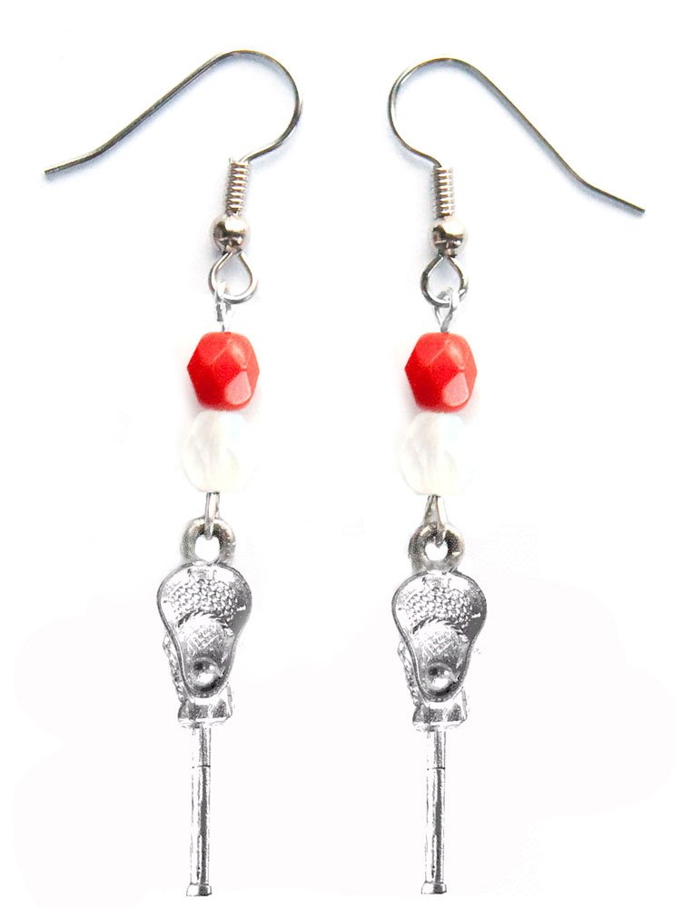''Lacrosse Stick & Ball'' Lacrosse Earrings (Team Colors Red & White)