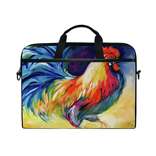 Laptop Bag for Men Women Canvas Shoulder Messenger Bag with Painted Rooster Fits 15-15.4 Inch