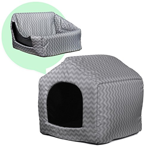 Cheap PARTYSAVING PET PALACE Portable Indoor Outdoor Pet Bed Fold-able House, Water Resistant, Grey Chevron Pattern, APL2079
