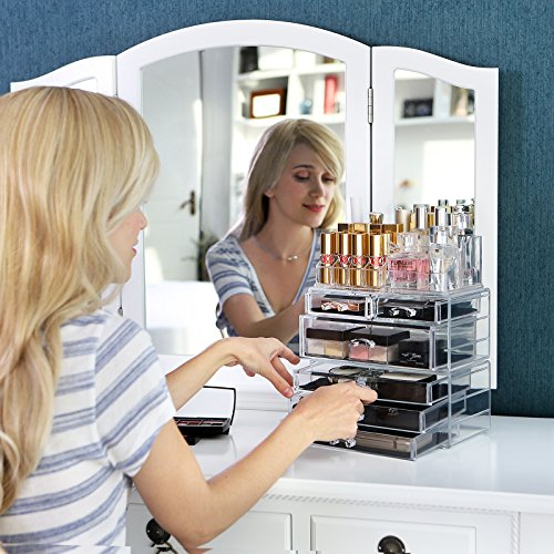 -[ Songmics Acrylic Clear Makeup Organiser Cosmetic Storage Makeup Case 3 Pieces with 6 Drawers JKA