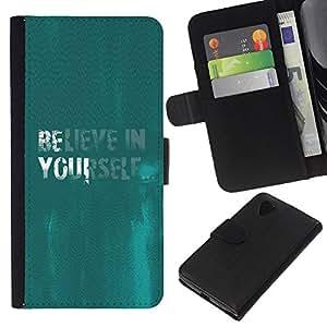 KLONGSHOP // Tirón de la caja Cartera de cuero con ranuras para tarjetas - Crea en sí mismo cita de motivación de la turquesa - LG Nexus 5 D820 D821 //