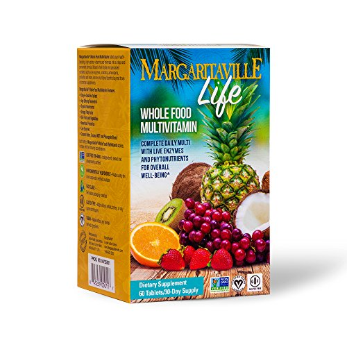 Margaritaville Life Premium Whole Food Multivitamin for Men & Women, 60 Tablets - Live Enzymes, Probiotics, Nutrients & Antioxidants - Supports Immunity & Energy - Non GMO, Gluten Free - 30 Servings