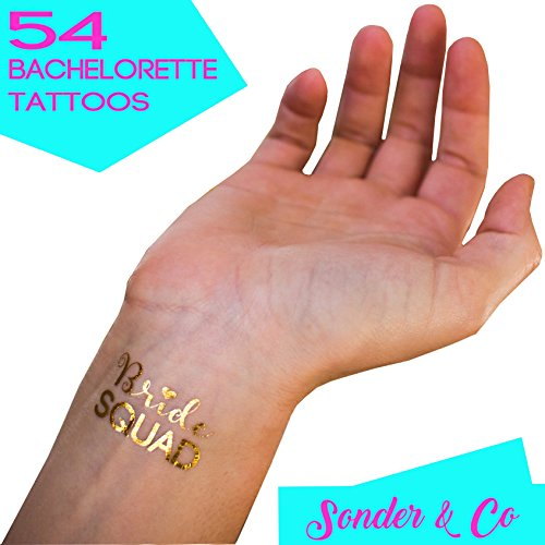 54 Bachelorette Party Tattoos by Sonder & Co - Gold & Silver Metallic Flash Tattoos, Bachelorette Party Favors