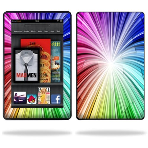 """MightySkins Protective Vinyl Skin Decal Cover for Amazon Kindle Fire 7"""" inch Tablet wrap sticker skins Rainbow Exp"""