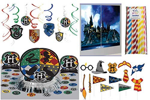 (Harry Potter Birthday Party Decorating Kit: Hanging Swirls, Scene Setter with Photo Props, Table Decorating Kit and ElevenPlus2 Paper Straws)