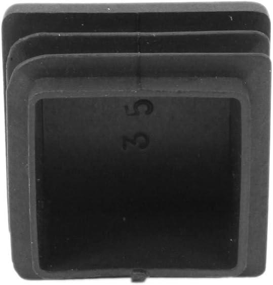 Sourcingmap 2 Pcs 35mm x 35mm Embouts Patins Pieds de Meuble en Plastique carr/é Capuchons dextr/émit/é Tube Insertion Noir