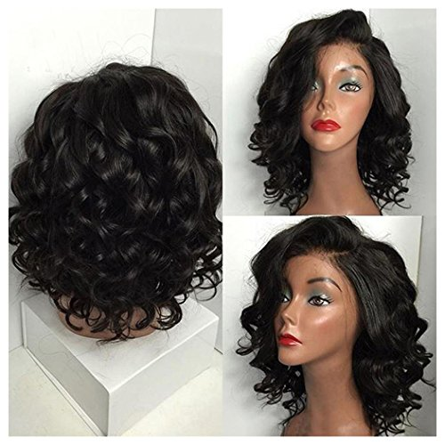 Inkach Short Curly Wigs for Black Womens Fluffy Wavy Cosplay Synthetic Hair Wigs (Black)