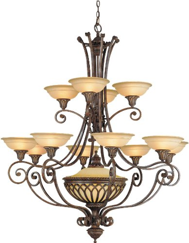 - Feiss F1918/12+1BRB Stirling Castle Glass Chandelier Lighting, Bronze, 12-Light (47