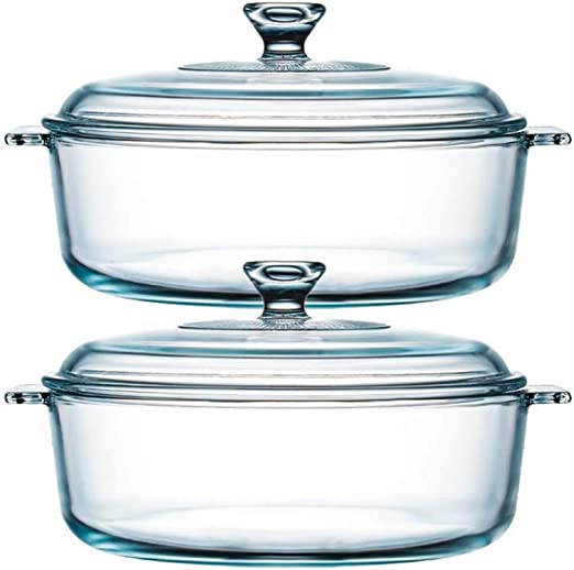 Amazon Com Nutriups Glass Casserole Dish With Cover Glass Baking Dish Bakeware Ovenware 1 8 Qt 2 Pack Kitchen Dining