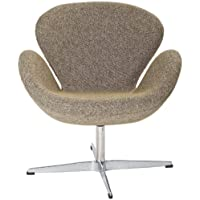 Modway Wing Wool Upholstered Lounge Chair in Oatmeal