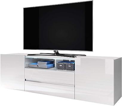 Selsey Bros - Mueble TV Minimalista/Mesa TV/Mueble para Salón/Mueble TV Moderno (con LED, Blanco Mate/Blanco Brillante): Amazon.es: Electrónica