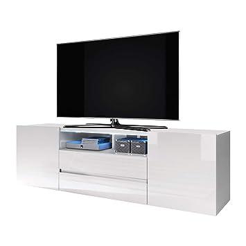 Selsey Bros Meuble Tv Banc Tv 137 Cm Blanc Mat Blanc