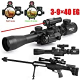 Vokul Tactical 3-9x40mm Illuminated Rifle Scope with Red Laser and Red Dot Sight of Red / Green Reticle Mount