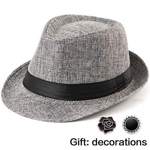 LADYBRO Straw Hat Men Summer Hats - Grey Hat Men Hats Fedora Hat Short Brim Hat Man Cap