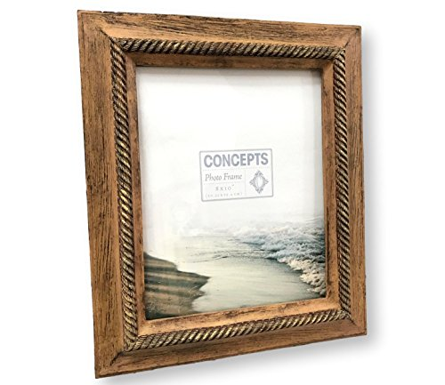 Concepts Natural Beige Resin Picture Frame Gold Rope Lined 8