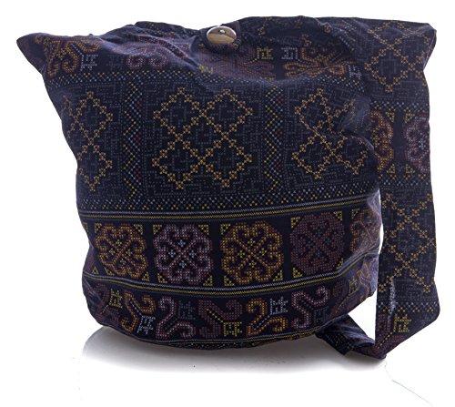 Cotton Crossbody Sling Bag Geometry Pattern Messenger Bohemian Stitch Hobo Purse Black Hippie Thai Cross Avarada 1U45qB5