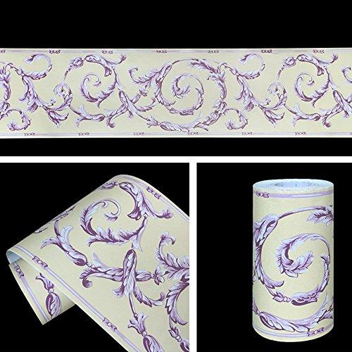 SimpleLife4U Purple Vine Wallpaper Border Self Adhesive Wall Covering Kitchen Bathroom Bedroom Tiles Decor -