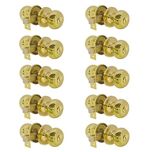 Probrico Privacy Door Knobs Lock Interior Bedroom Bathroom Door Handle Polished Brass Round Ball Keyless Lockset 10 Pack ()