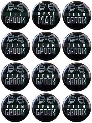 Buttonsmith Team Groom Button Set,Black