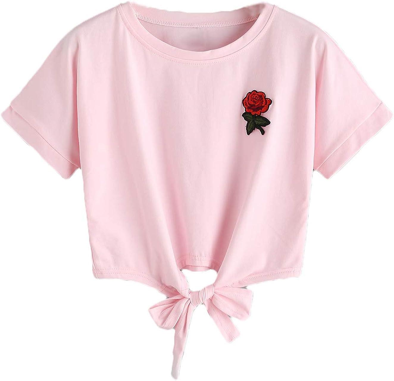 Women Teen Girls Rose Print Striped V-Neck Crop Top Belly Shirt Tees T-Shirt Blouse Sale
