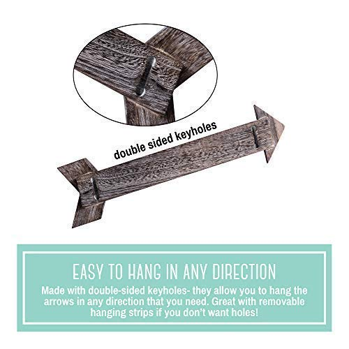 OUTSHINE Rustic Dark Brown Wooden Arrows for Farmhouse Home Wall Decor (Set of 3) | Real Wood Decorative Arrow Signs | Cute Decorations for Living Room, Bedroom, Kitchen, Nursery, Office, Wedding